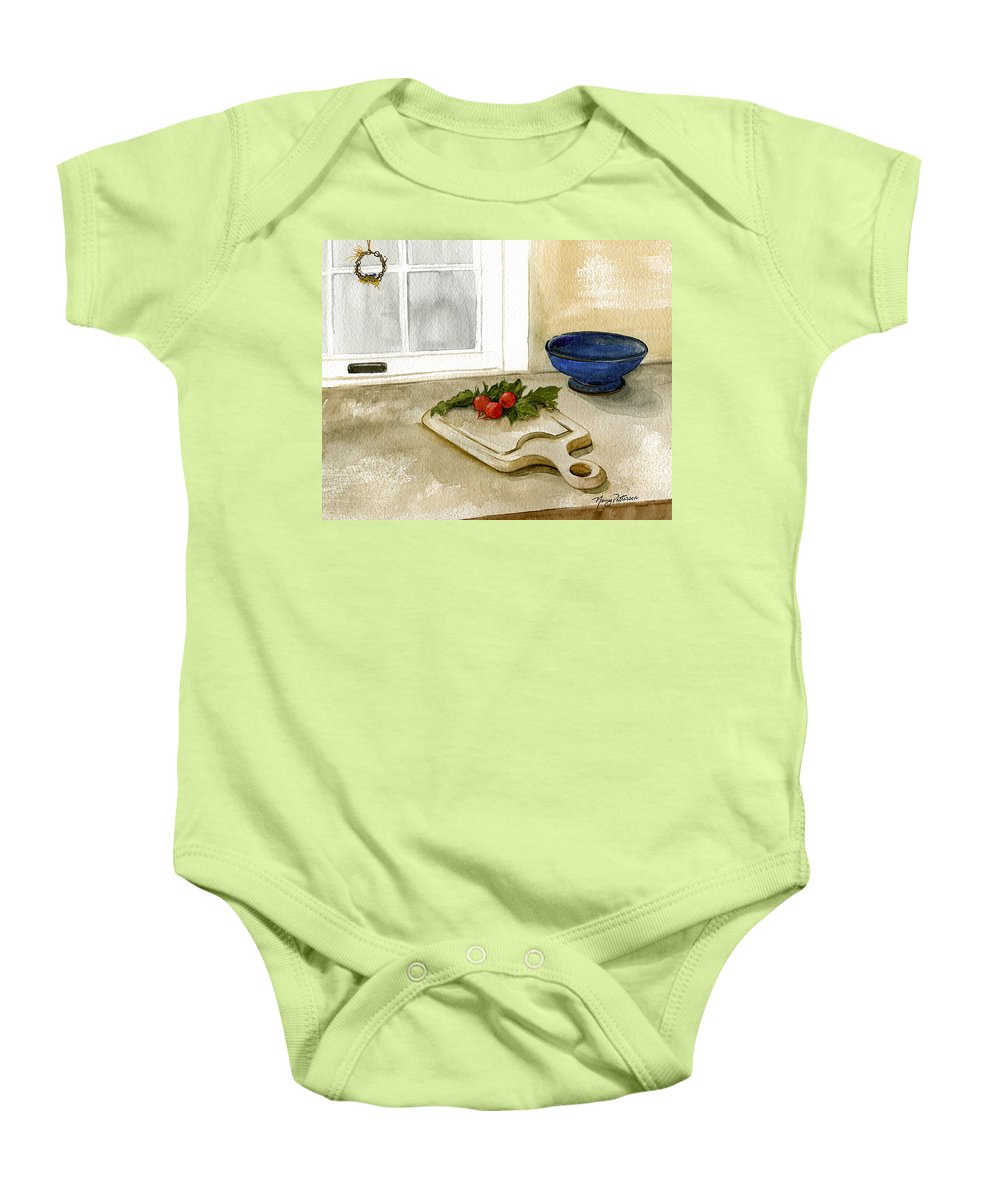 Radish Baby Onesie featuring the painting Fresh Radishes by Nancy Patterson