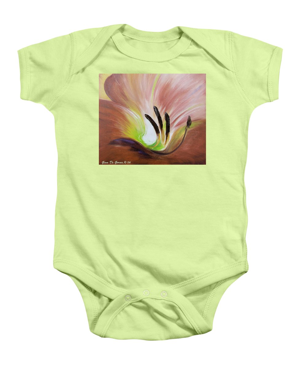 Brown Baby Onesie featuring the painting From The Heart Of A Flower Brown 3 by Gina De Gorna