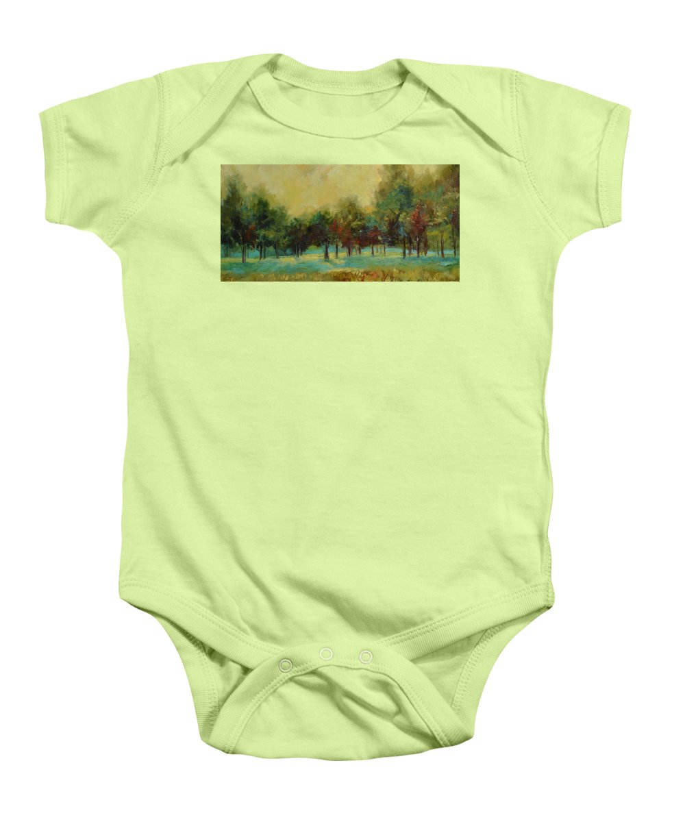 Pastoral Baby Onesie featuring the painting From The Other Side II by Ginger Concepcion