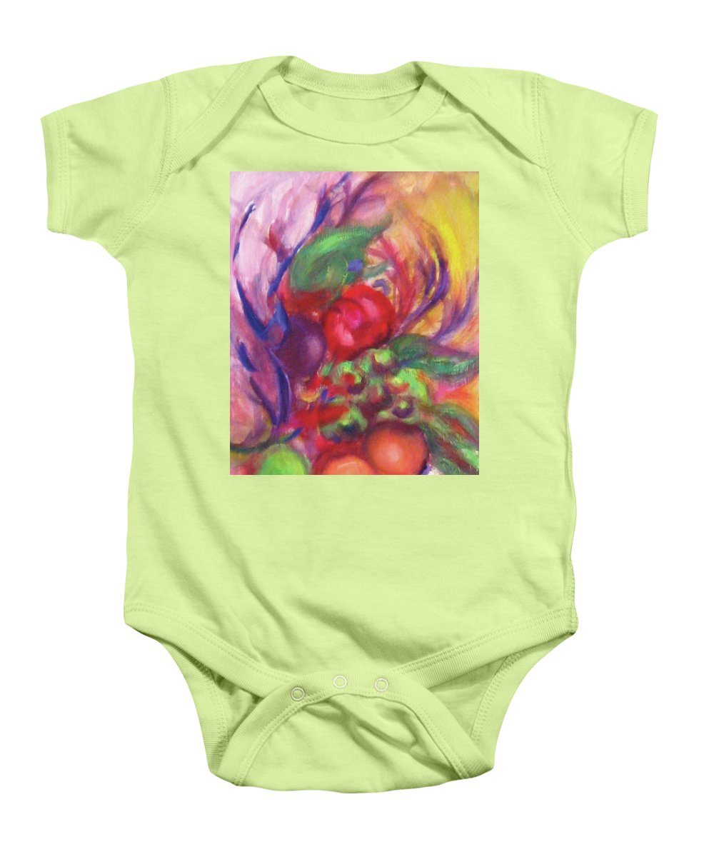 Fruits Baby Onesie featuring the painting Fruit And Flowers by Diane Quee