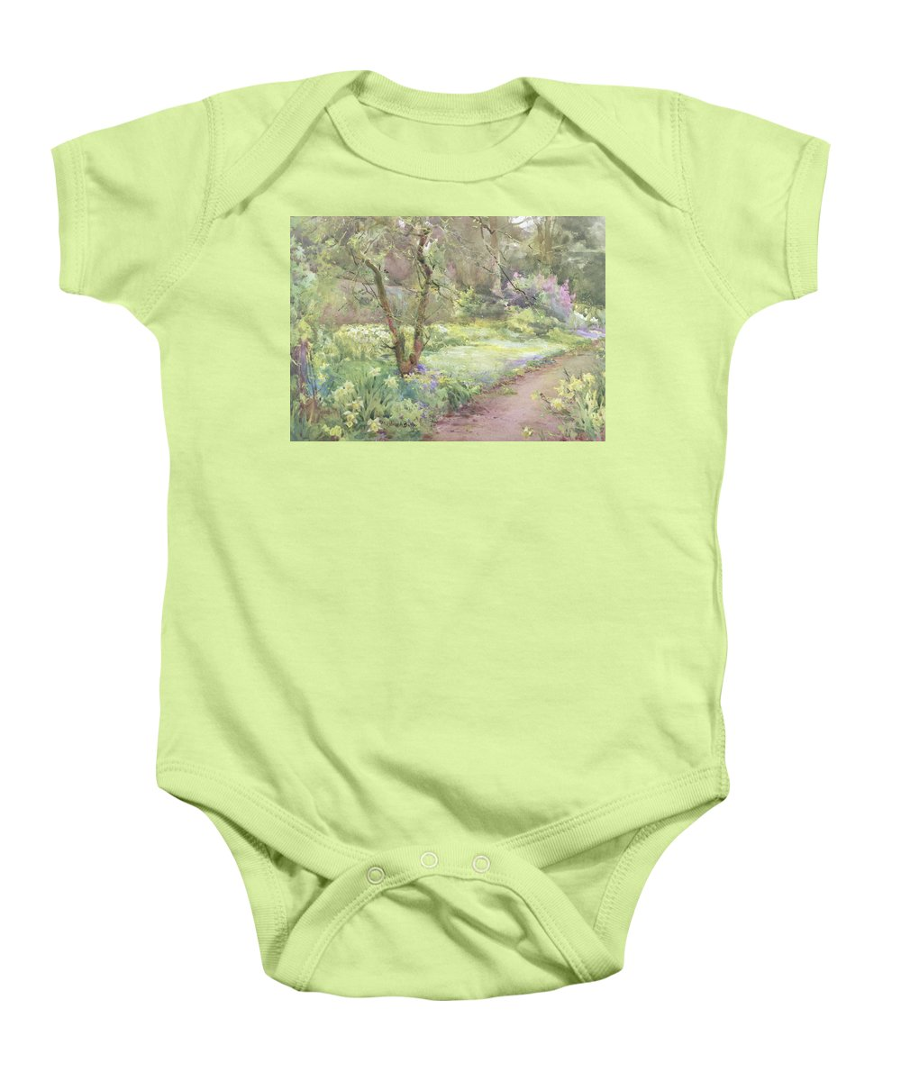 Flower Baby Onesie featuring the painting Garden Path by Mildred Anne Butler