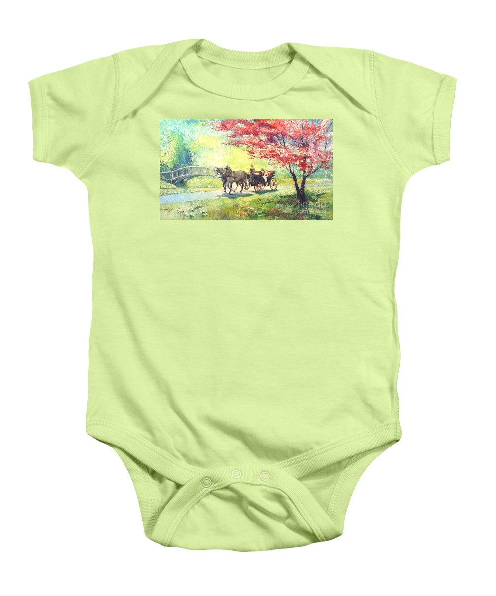 Allee Baby Onesie featuring the painting Germany Baden-baden Lichtentaler Allee Spring 2 by Yuriy Shevchuk