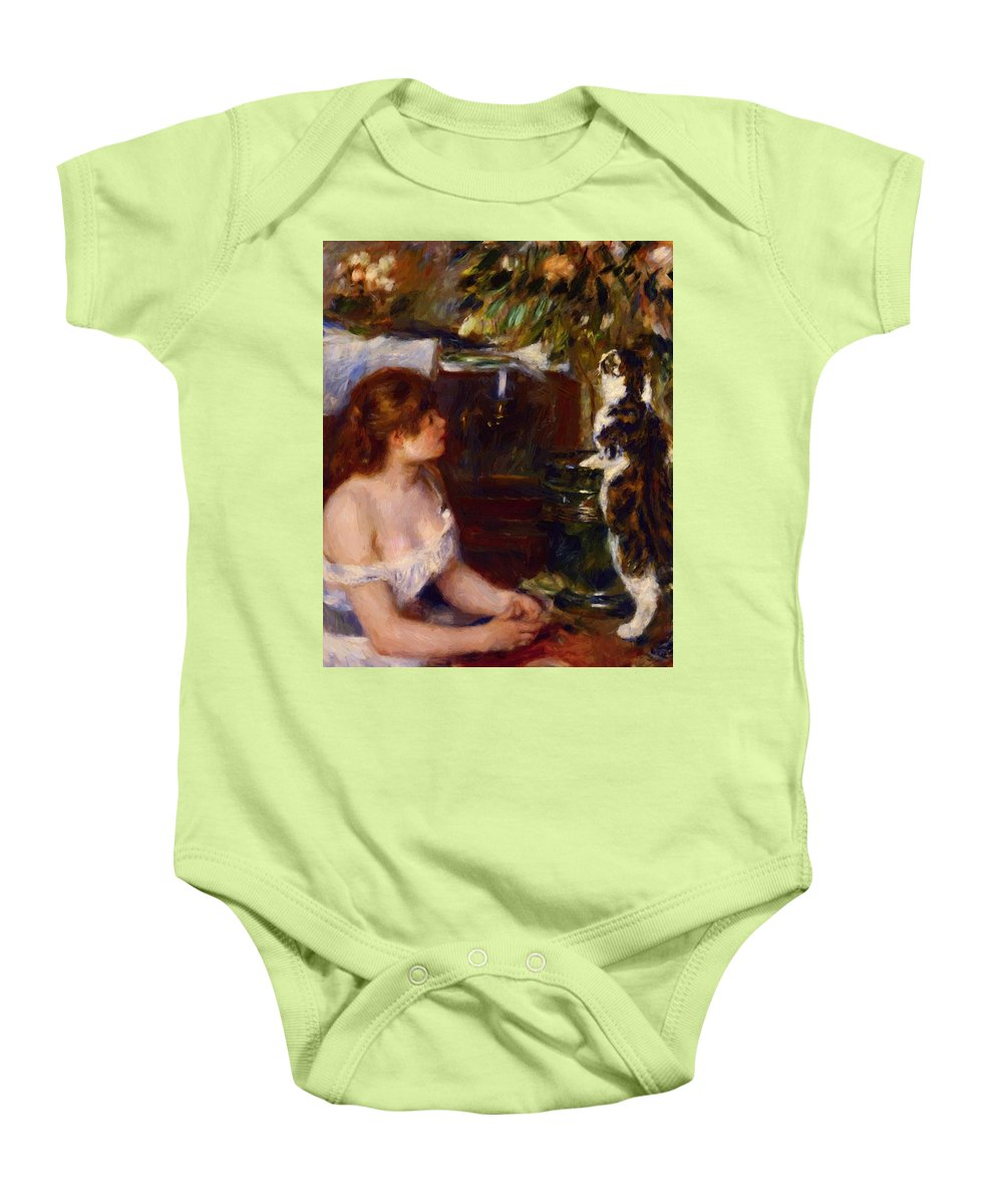 Girl Baby Onesie featuring the painting Girl And Cat 1882 by Renoir PierreAuguste