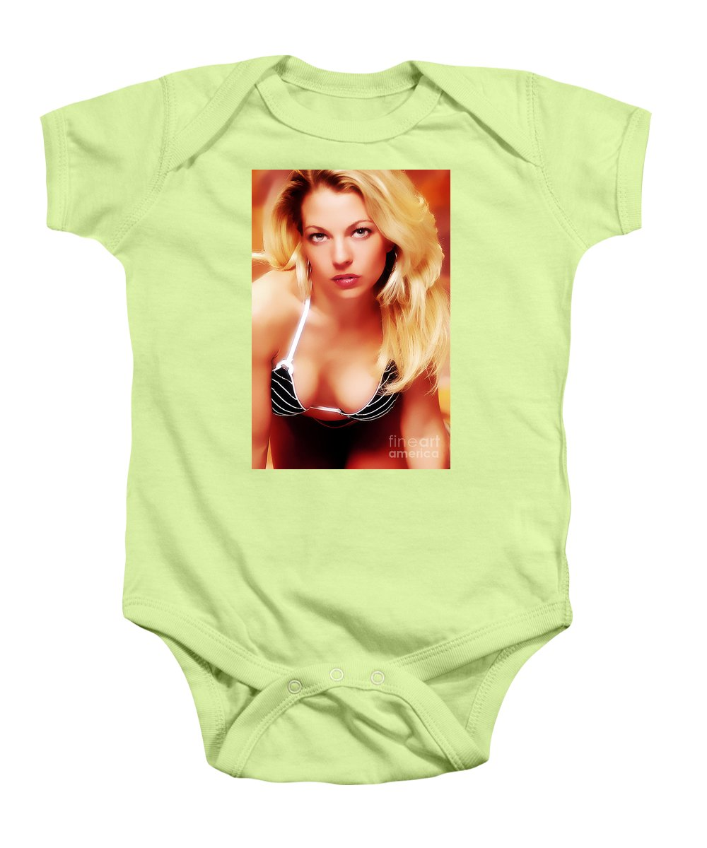 Clay Baby Onesie featuring the photograph Glam by Clayton Bruster