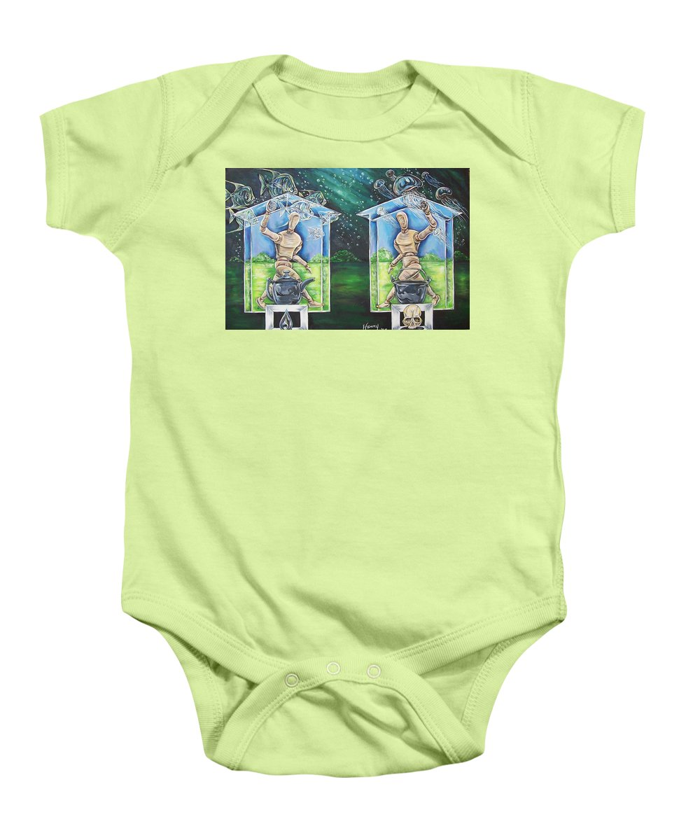 Glass Baby Onesie featuring the painting Glass Houses by James Henry