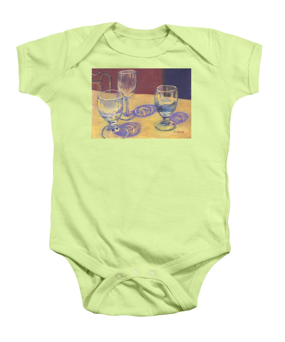 Glasses Baby Onesie featuring the painting Glasslights by Sharon E Allen