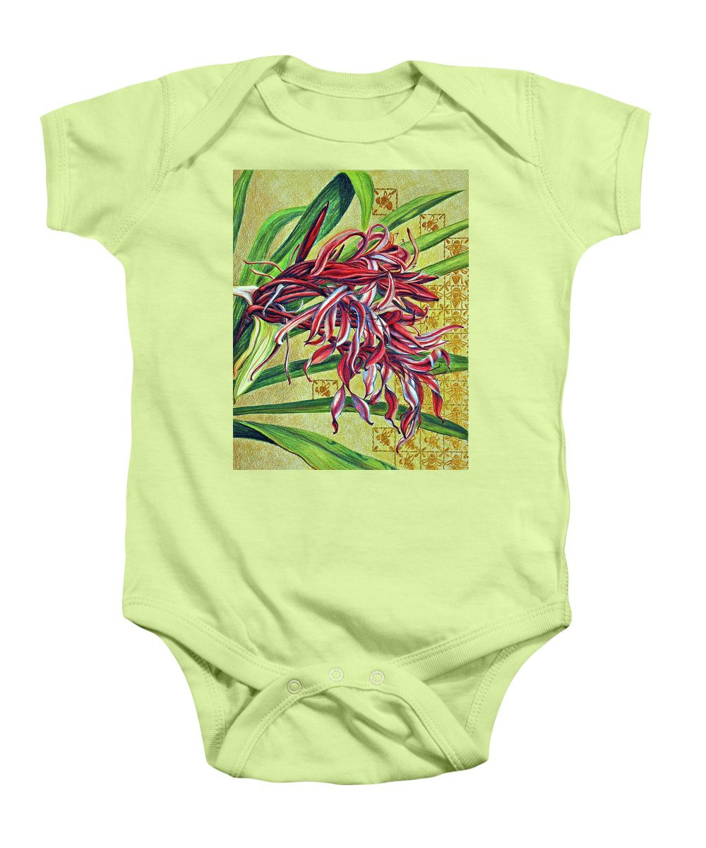 Mixed Media Baby Onesie featuring the drawing Glorious Crinum by Suzanne McKee