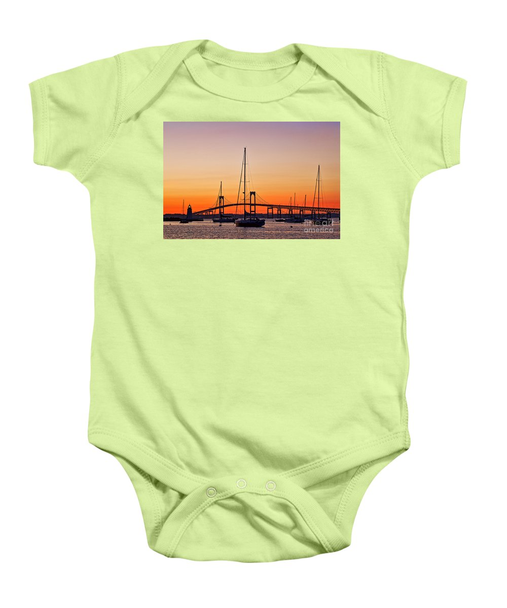 Goat Island Lighthouse Baby Onesie featuring the photograph Goat Island Lighthouse by John Greim