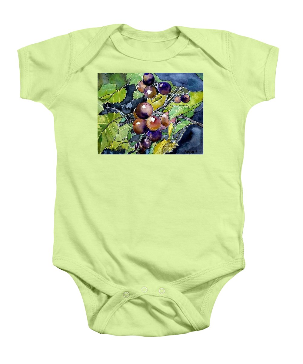 Grape Baby Onesie featuring the painting Grape Vine Still Life by Derek Mccrea
