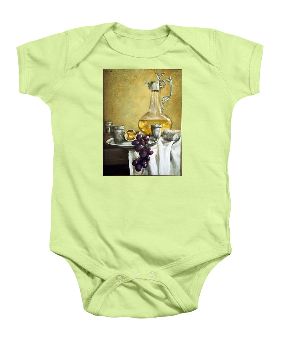 Still Life Cristal Bottle Grapes Fruits Glass Baby Onesie featuring the painting Grapes And Cristals by Natalia Tejera