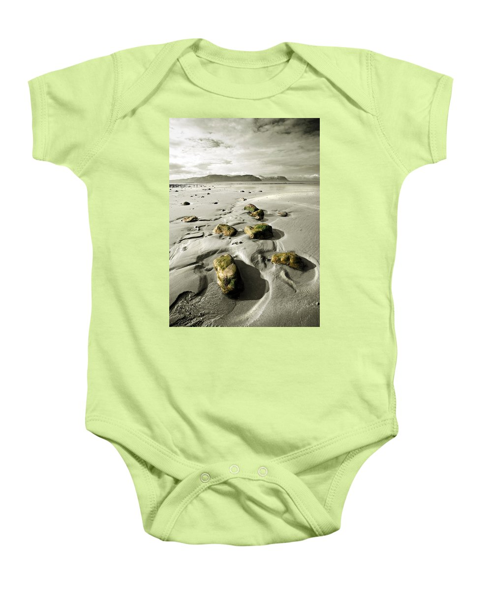 Beach Baby Onesie featuring the photograph Green Stones On A North Wales Beach by Mal Bray