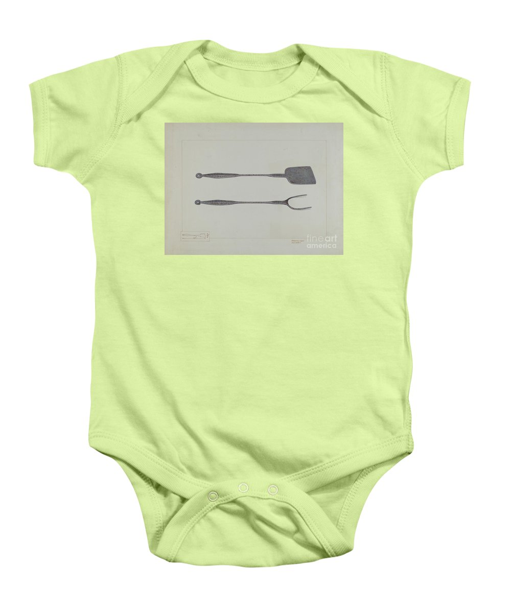 Baby Onesie featuring the drawing Griddlecake Turner And Fork by Edward L. Loper