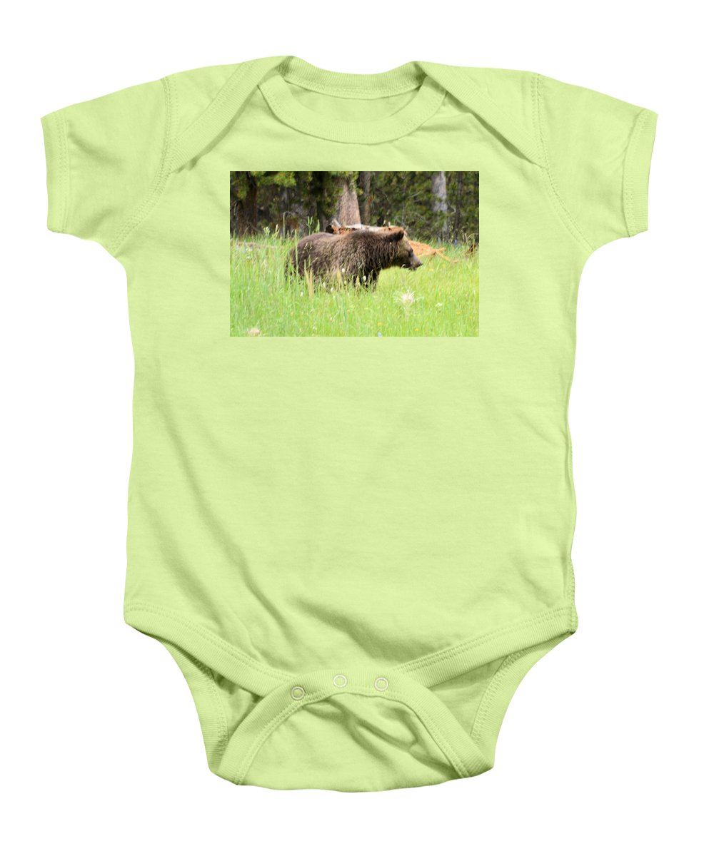 yellowstone National Park Baby Onesie featuring the photograph Grizzly by Wendy Fox