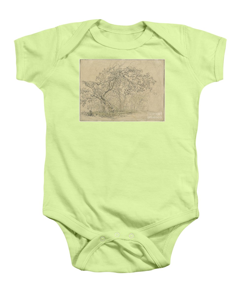 Baby Onesie featuring the drawing Grove Of Trees [verso] by Friedrich Salath?