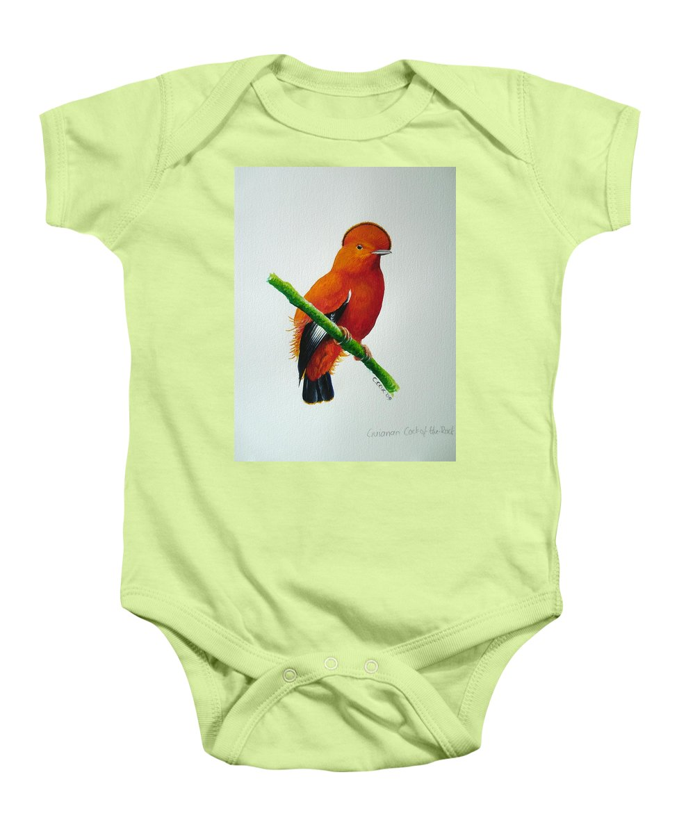 Cock-of-the-rock Baby Onesie featuring the painting Guianan Cock-of-the-rock by Christopher Cox