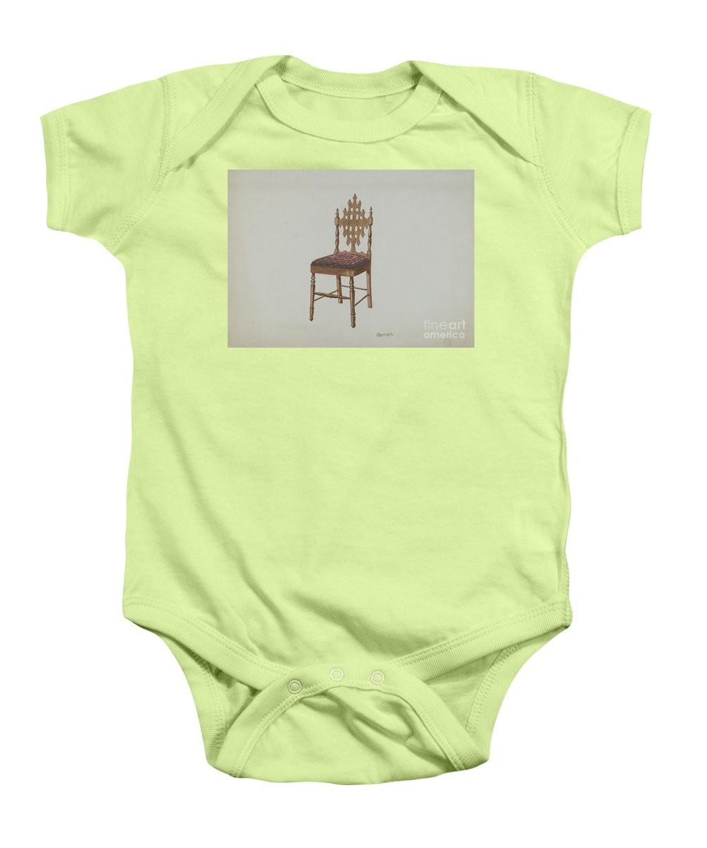 Baby Onesie featuring the drawing Handcarved Side Chair by Cornelius Christoffels
