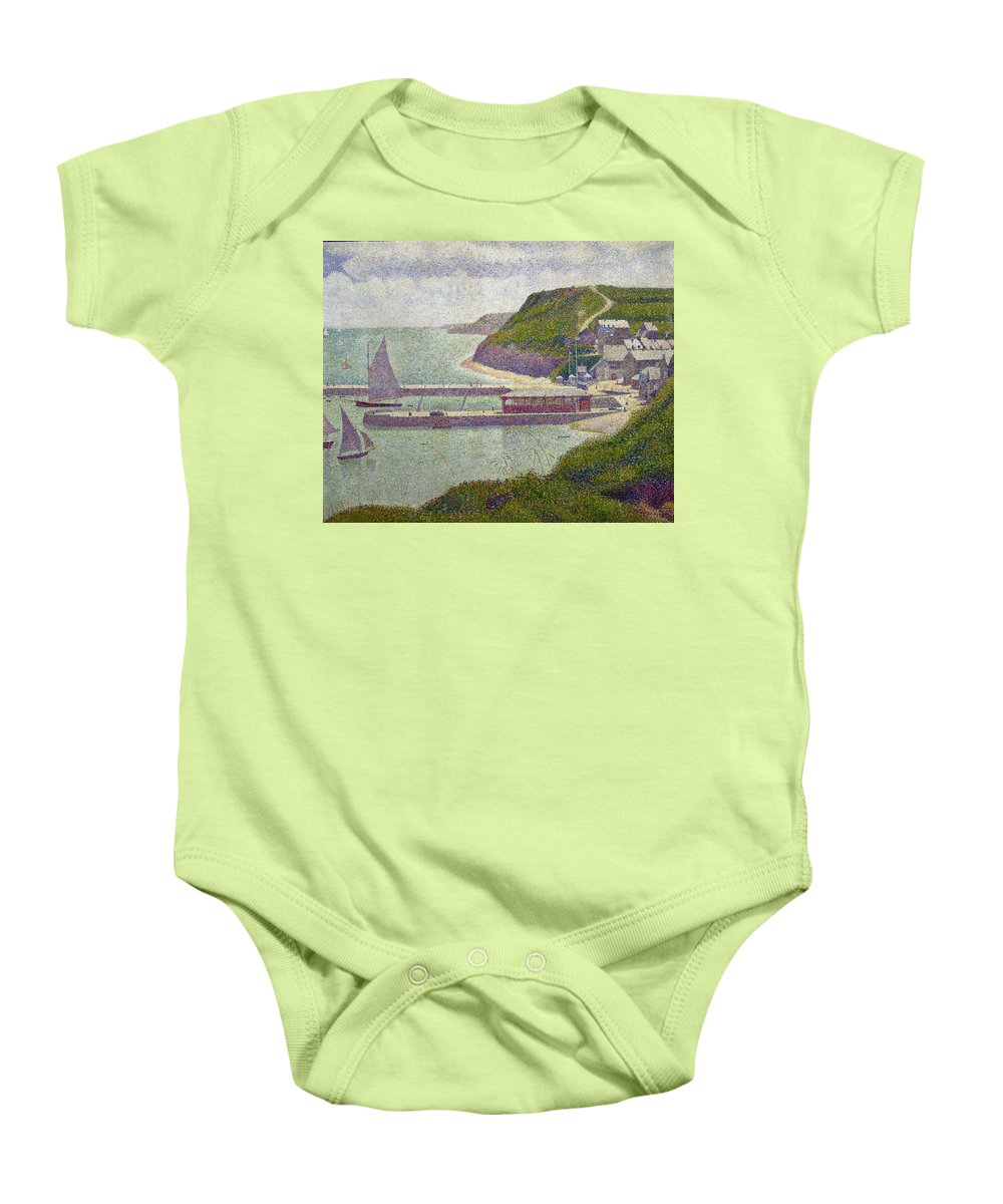 Harbour At Port-en-bessin At High Tide Baby Onesie featuring the painting Harbour At Port En Bessin At High Tide by Georges Pierre Seurat