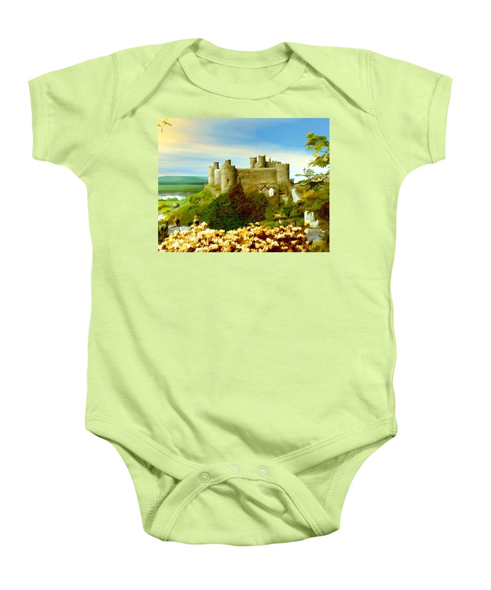Castles Baby Onesie featuring the photograph Harlech Castle by Kurt Van Wagner