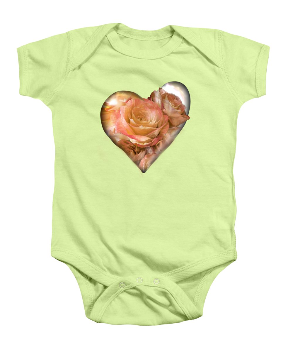Rose Baby Onesie featuring the mixed media Heart Of A Rose - Gold Bronze by Carol Cavalaris
