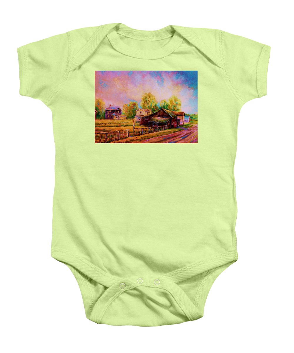 Landscape Baby Onesie featuring the painting Hearth And Home by Carole Spandau