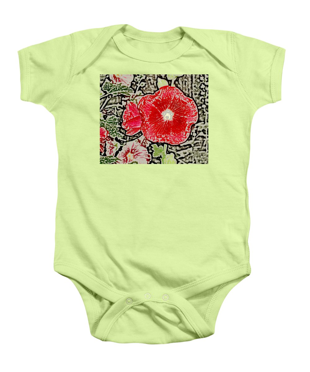Flower Baby Onesie featuring the photograph Hollyhock by Wayne Potrafka