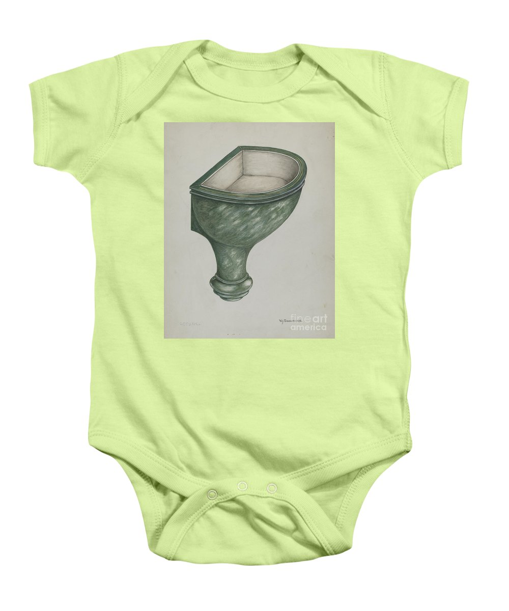 Baby Onesie featuring the drawing Holy Water Font, Santa Barbara by W.j. Goodacre