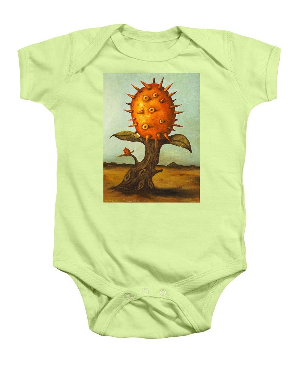 Horny Baby Onesie featuring the painting Horned Melon by Leah Saulnier The Painting Maniac