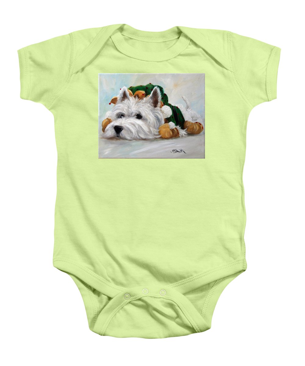 Art Baby Onesie featuring the painting Humbug by Mary Sparrow
