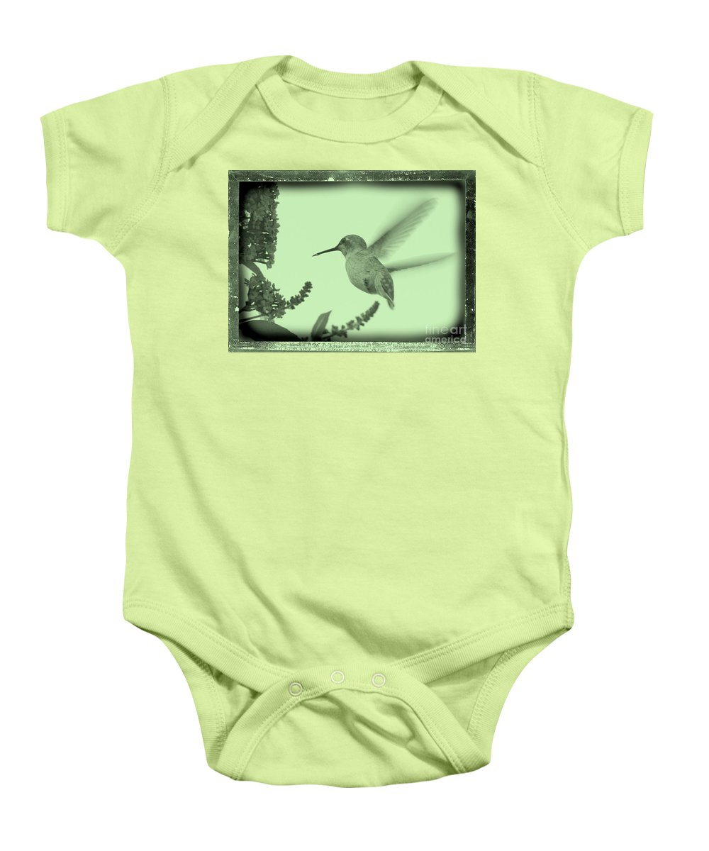 Baby Onesie featuring the photograph Hummingbird With Old-fashioned Frame 5 by Carol Groenen