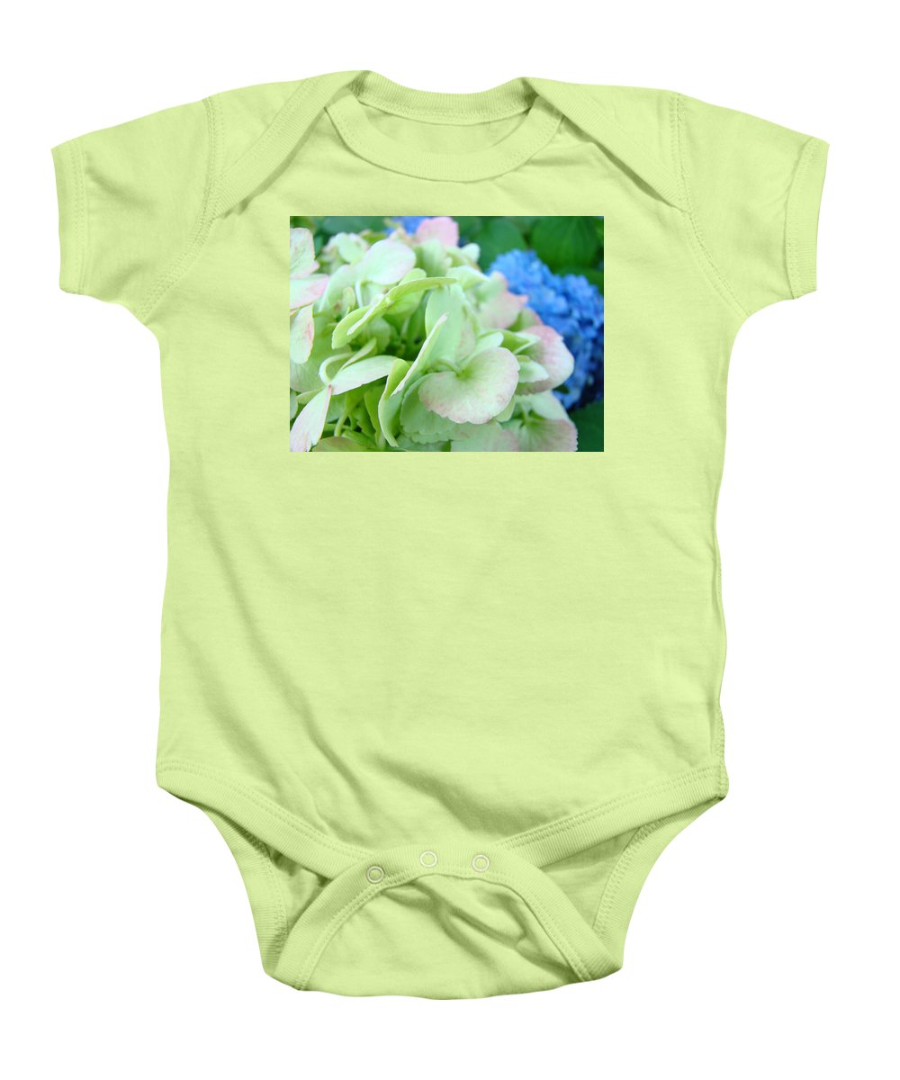 Hydrangea Baby Onesie featuring the photograph Hydrangea Flowers Art Prints Floral Gardens Gliclee Baslee Troutman by Baslee Troutman