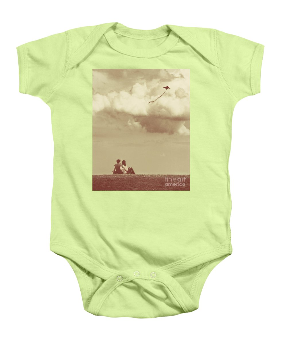 Dipasquale Baby Onesie featuring the photograph I Had A Dream I Could Fly From The Highest Swing by Dana DiPasquale