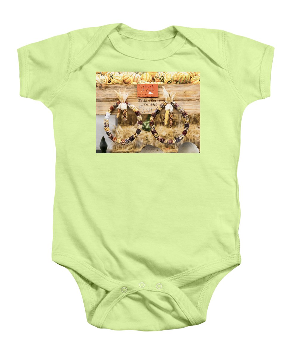 Indian Corn Wreaths Baby Onesie featuring the photograph Indian Corn Wreaths by Tracy Winter