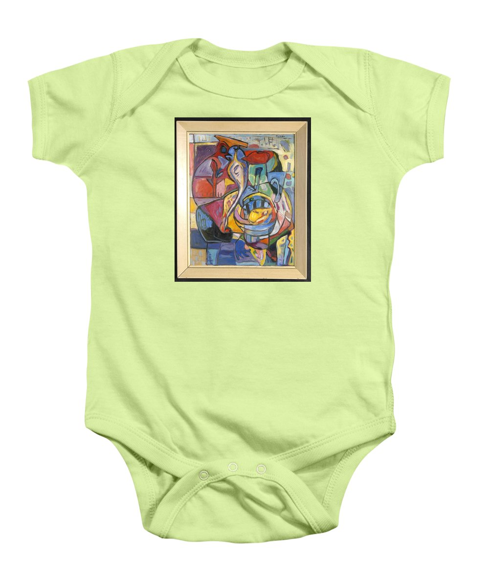 Baby Onesie featuring the painting Industrial Thinking Cap by Mykul Anjelo