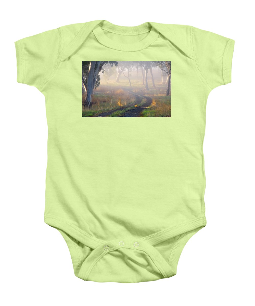 Mist Baby Onesie featuring the photograph Into The Mist by Mike Dawson