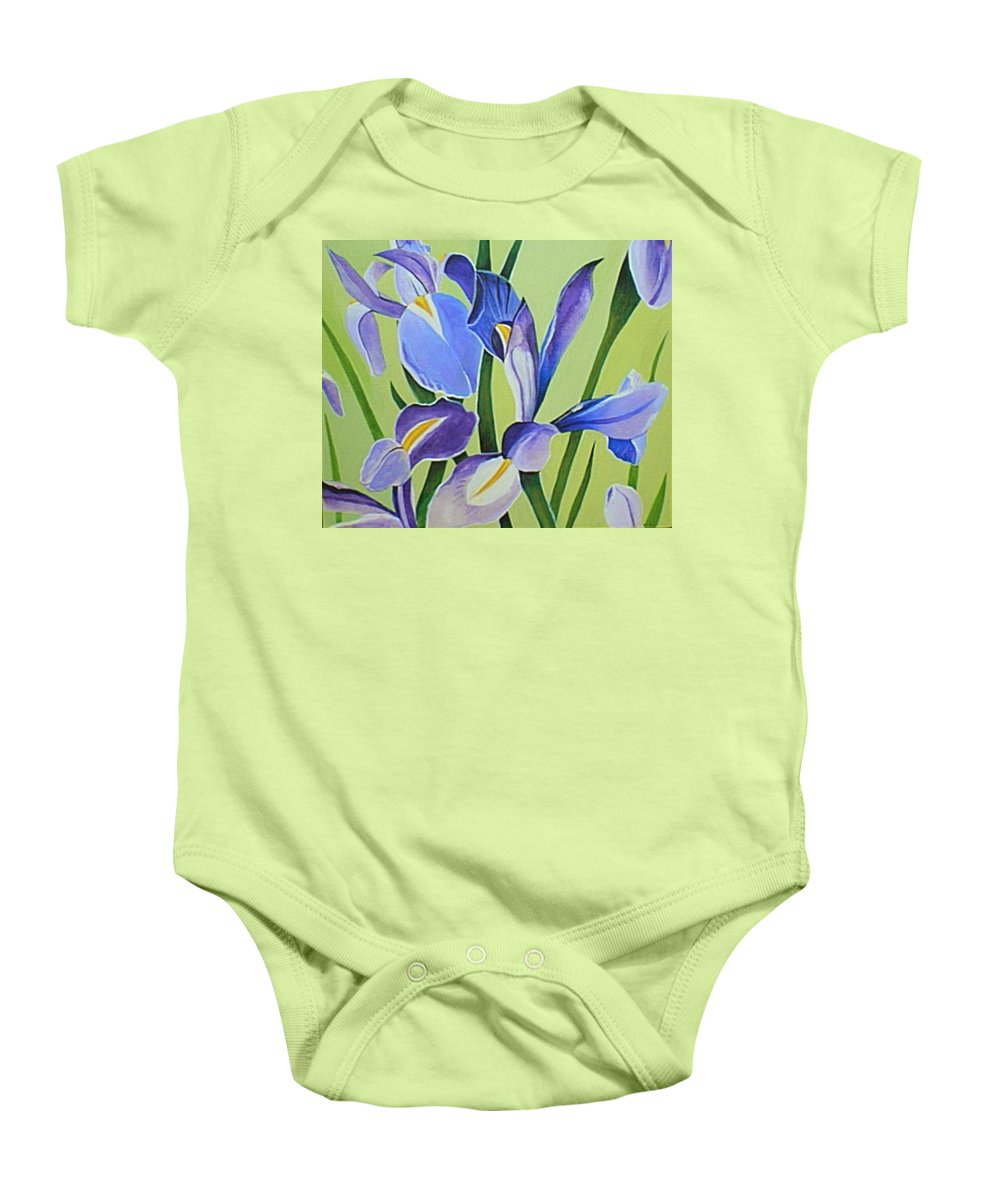 Flower Baby Onesie featuring the painting Iris Fields - Center Panel by Helena Tiainen