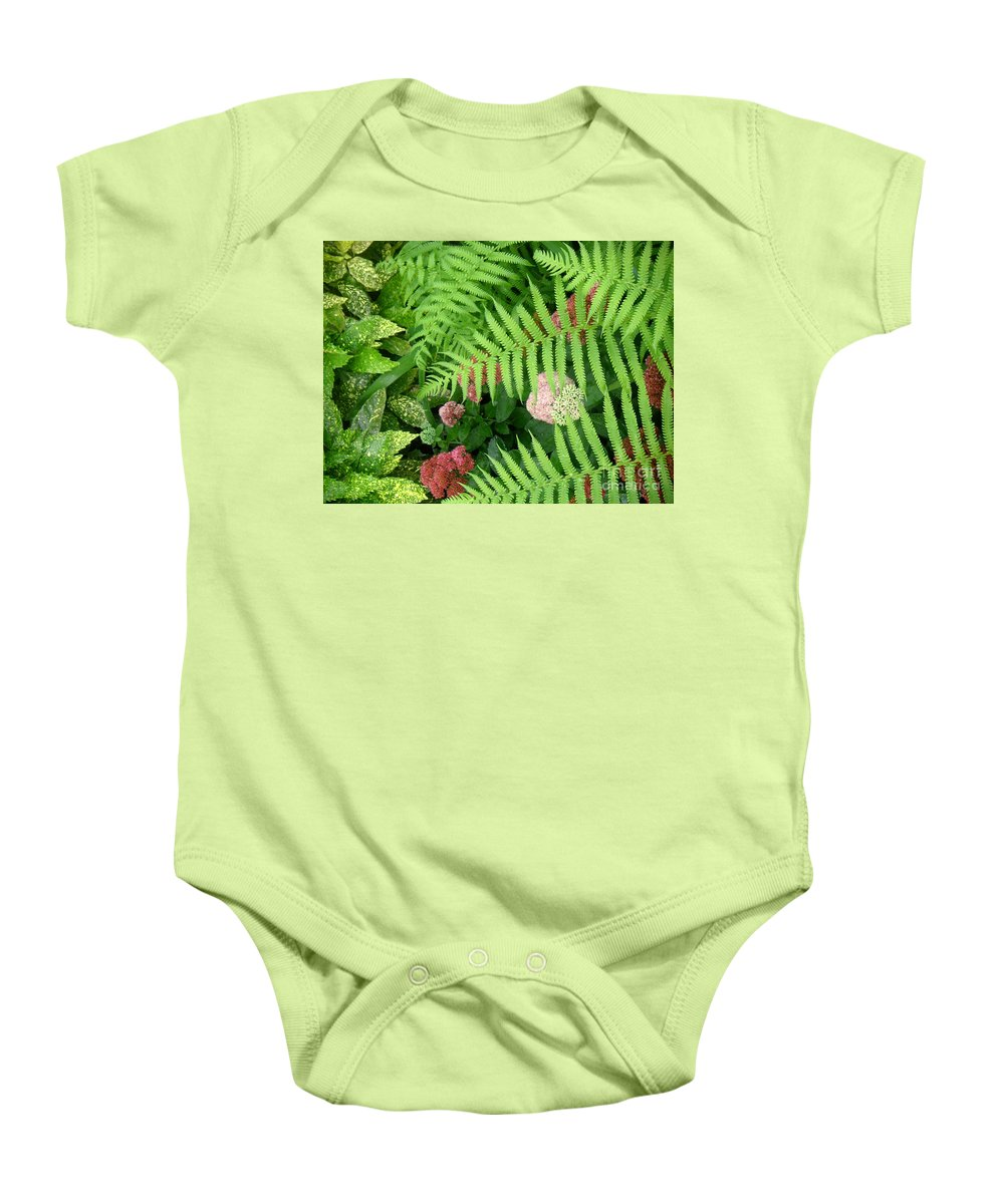 Nature Baby Onesie featuring the photograph Jacqueline's Garden - Camaraderie Of Textures by Lucyna A M Green