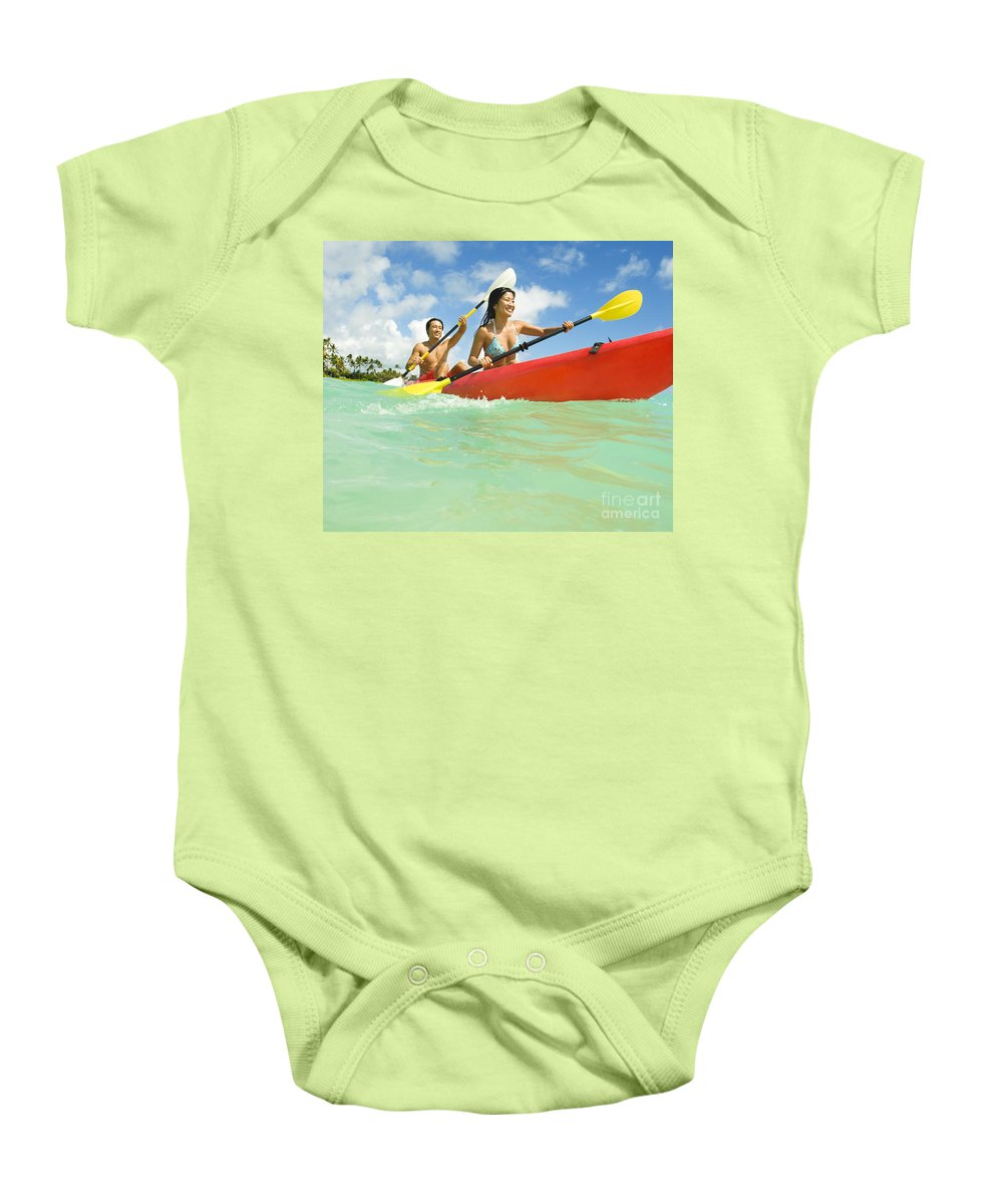 Active Baby Onesie featuring the photograph Japanese Couple Kayaking by Dana Edmunds - Printscapes