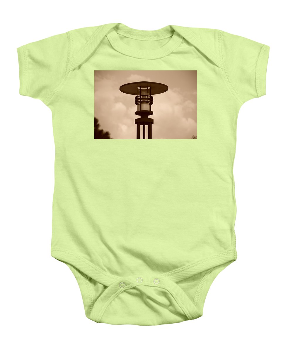 Sepia Baby Onesie featuring the photograph Japanese Lamp by Rob Hans