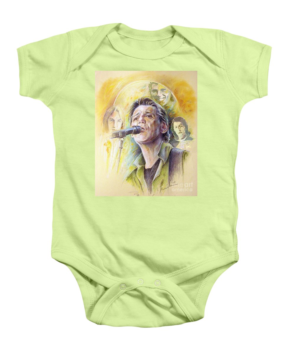 Jeff Christie Baby Onesie featuring the painting Jeff Christie by Miki De Goodaboom
