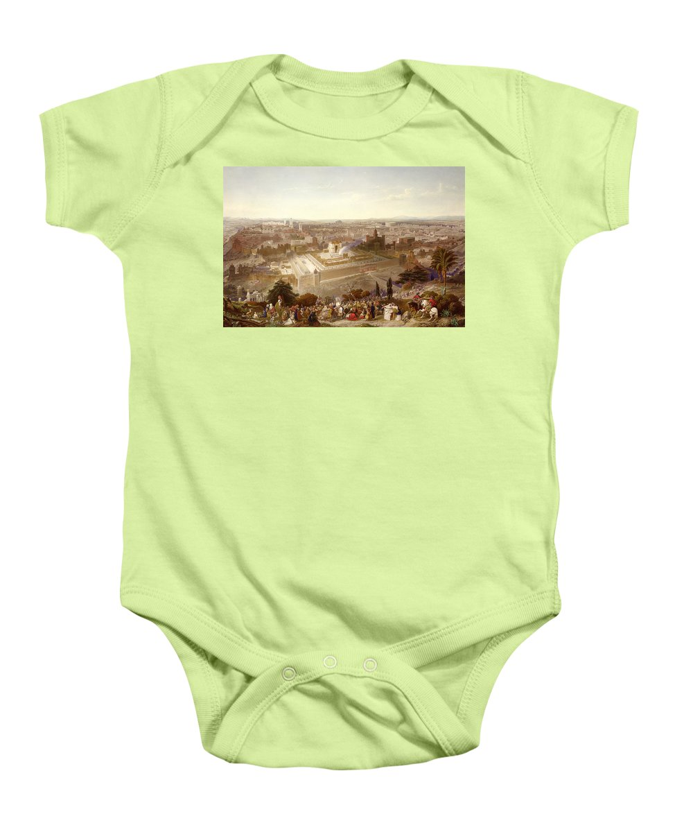 City; Palm Sunday; Entrance; Disciples; Temple; View; Landscape; Palestine Baby Onesie featuring the painting Jerusalem In Her Grandeur by Henry Courtney Selous