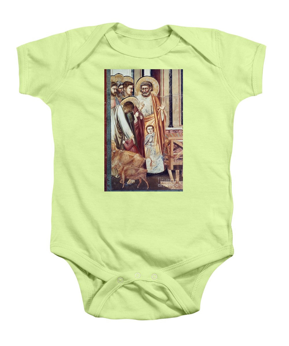 1304 Baby Onesie featuring the photograph Jesus & Moneychanger by Granger