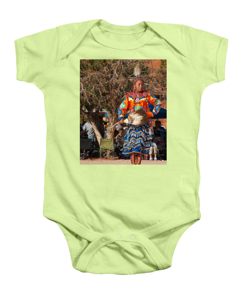 Pow-wow Dancer Baby Onesie featuring the photograph Jingle Dress Dancer At Star Feather Pow-wow by Tim McCarthy