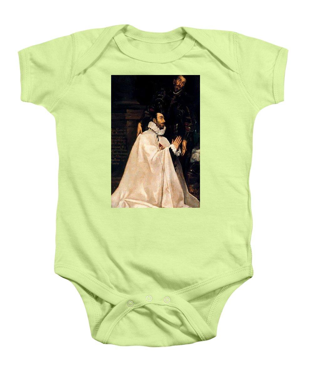 Julian Baby Onesie featuring the painting Julian Romero De Las Azanas And His Patron St Julian by El Greco