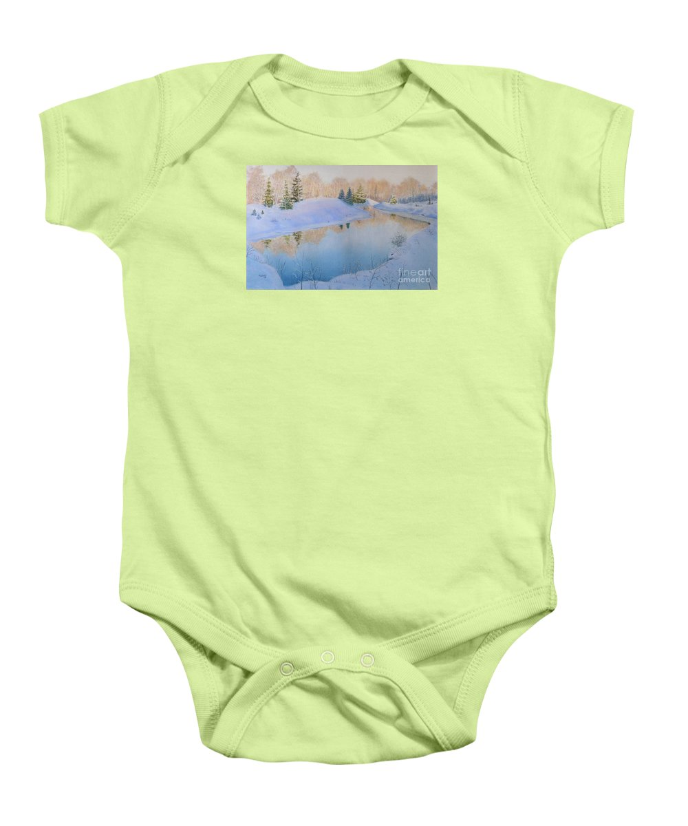 Landscape Baby Onesie featuring the painting Junction Creek by Lynn Quinn