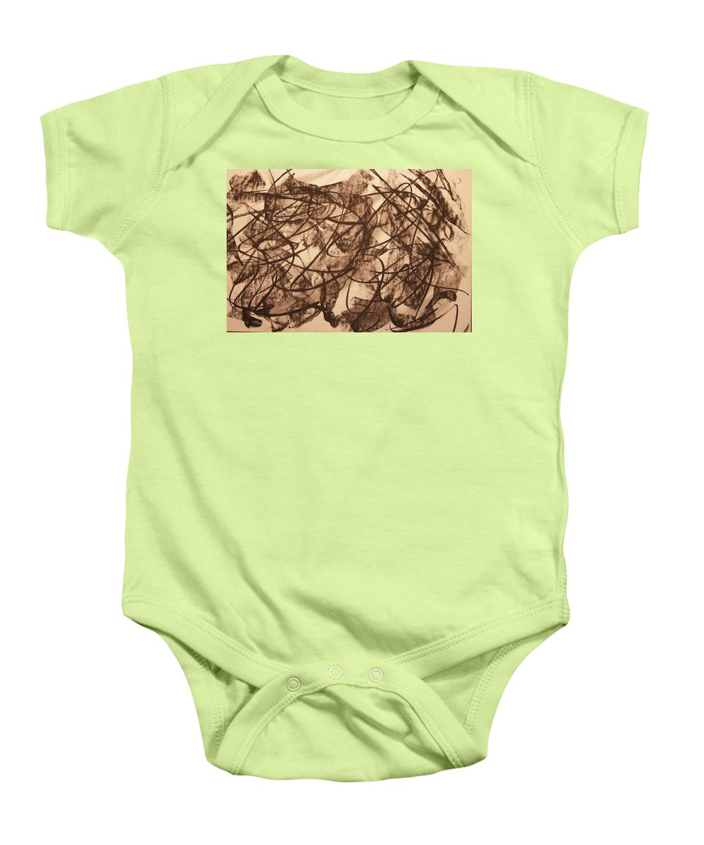 Abstract Baby Onesie featuring the drawing Jurisdiction Indine by David Barnicoat