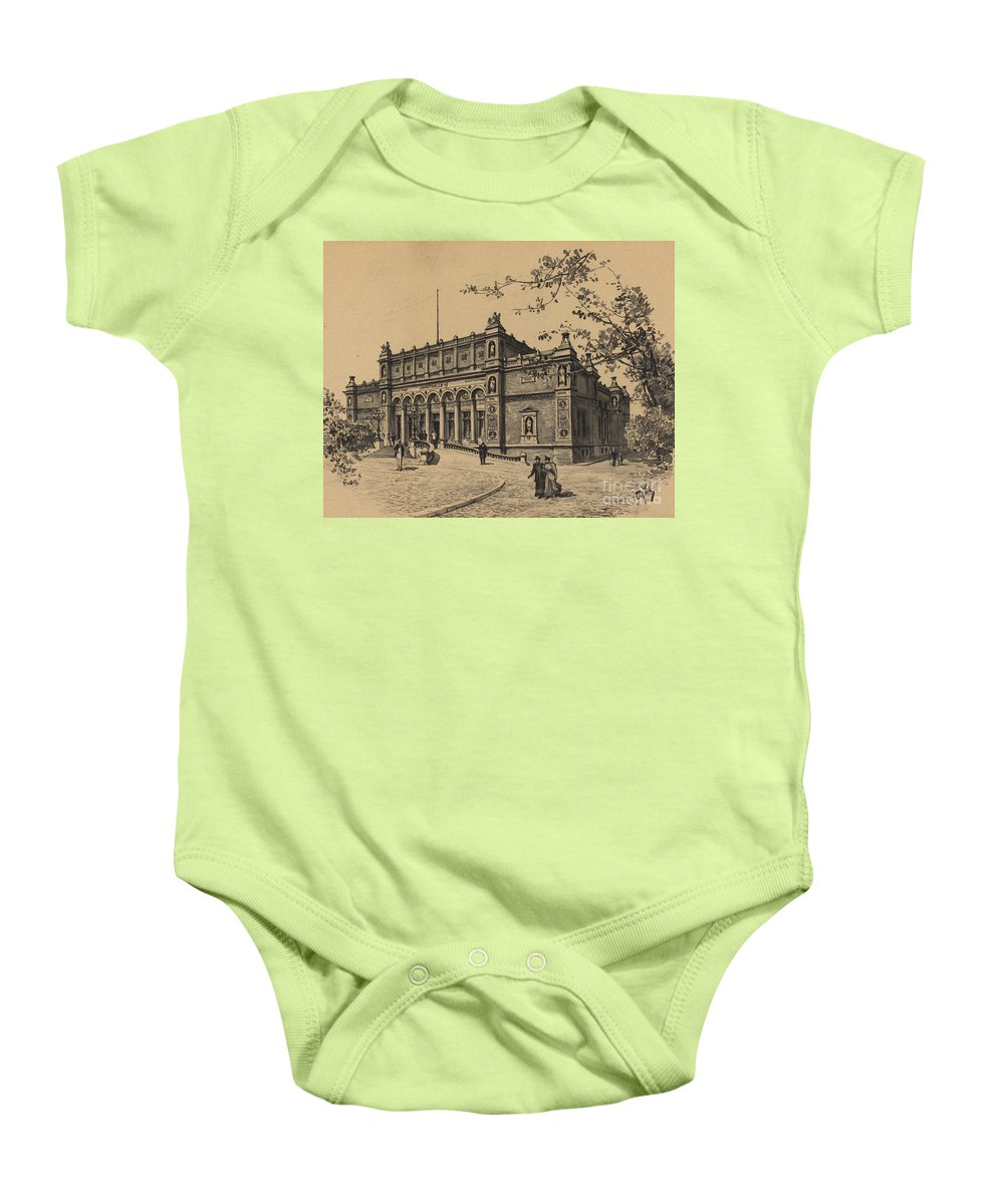 Baby Onesie featuring the drawing Kunsthalle by Fritz Stoltenberg