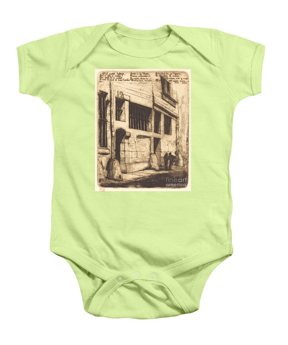 Baby Onesie featuring the drawing La Rue Des Mauvais Gar?ons, Paris (the Street Of The Bad Boys) by Charles Meryon