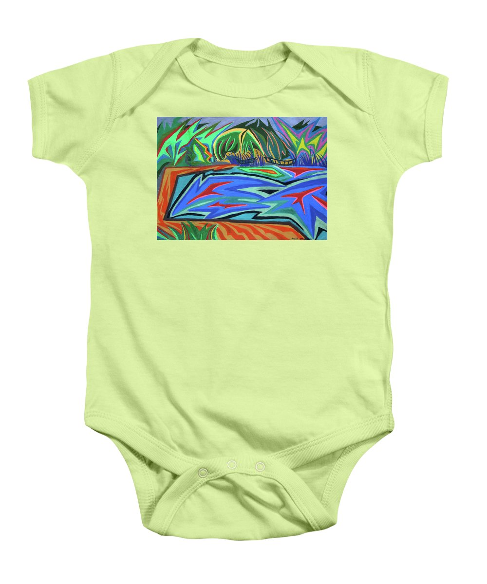 Laureate Baby Onesie featuring the painting Lac Aura by Robert SORENSEN