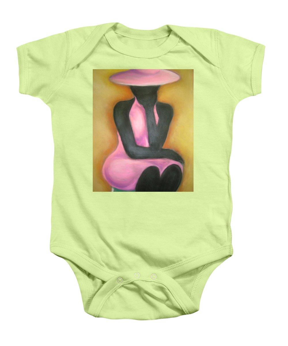 Woman Baby Onesie featuring the drawing Lady In Pink by Jan Gilmore