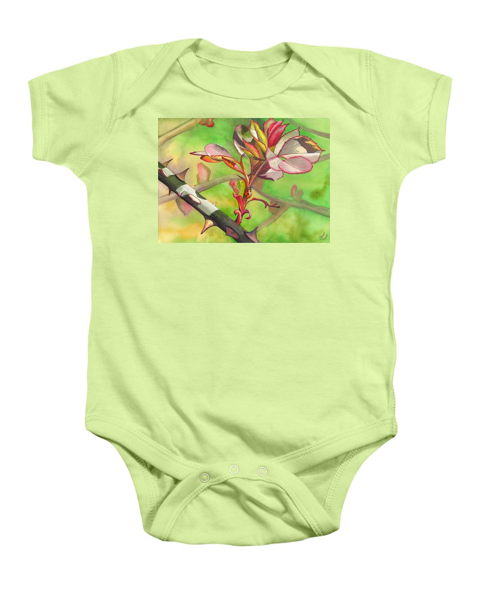 Ladybug Baby Onesie featuring the painting Ladybug by Catherine G McElroy